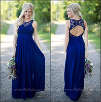 Wholesale New Black Chiffon Party Dress - 2016 New Midnight Blue Chiffon Country Bridesmaid Dresses Lace Top Hollow Back Floor Length Party Prom Dresses