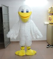 Wholesale White Duck Adult Costume - White Long Wool Duck Mascot Costume Adult Size Yellow Mouth Foot Duck Cartoon Clothing Animal Christmas Mascot Party Dress