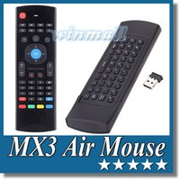 Wholesale Mini Trackball Mouse - MX3 Fly Air Mouse 2.4GHz Wireless QWERTY Keyboard Mini I8 G Sensing Gyroscope IR Remote Control For MXQ M8s Android TV box