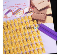 Wholesale Decorated Letters - Letter and Number Impress Stamp Mould Tool for Biscuit Cake Fondant Decorating DIY Cake Stamp Tool Set