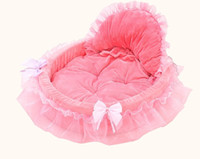 Wholesale Puppy Bedding - Lace Dog Bed Soft Sofa For Small Dogs Pink Puppy House Pet Doggy Teddy Bedding Cat Dog Beds Luxury Nest Mat Kennels free shipping