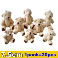 Wholesale Teddy Bear Couple Cartoon - 1Lot 20pcs 7.5cm Mini Joint Bear Plush toys Wedding gifts Kids Cartoon toys Christmas gifts Couple Gifts Wholesale Hot sales