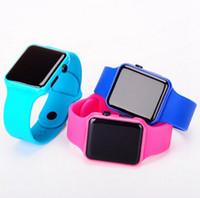 relojes de pantalla de espejo al por mayor-Moda cuadrados espejo Dial Digital LED reloj mujeres y hombres LED Digital pantalla táctil coloridos silicona hombres reloj para GIFT Watch