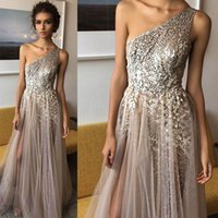Wholesale Sexy Shinning Party Dress Sequins - Vestido de noche One Shoulder Shinning Side Split Elegant Long Evening Dress Sexy Prom Dresses Formal Party Gowns