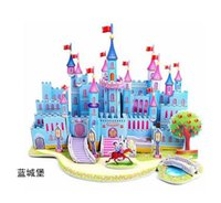 Wholesale-10set / lotto Il puzzle fai da te giocattolo Disny Princess Castle House Beach carta EPS Village 3D Set per i regali di compleanno festa di Natale di favore
