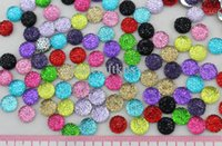 Wholesale Round Resin Cabochons - Set of 350 pcs 10mm cabochons Assorted Bling Round Rhinestones Gems flat back embellishment resin cab mixed colors