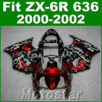 Wholesale Kawasaki 636 Plastic Kit - Free shipping fairing kit for kawasaki ZX-6R 636 00 01 02 red black plastic fairings set ZX636 ZX6R 2000 2001 2002 JK20