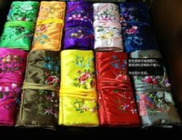 Wholesale Jewellery Storage Rolls - Women Embroidered Jewellery Roll Travel Multi Pouches Packaging Cotton filled Drawstring Silk Storage Bags 10pcs lot mix color Free