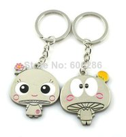 Wholesale Door Gift Wedding - Unique mushroom design Metal Couple Key chains Lover Keychains Key rings for Wedding Small Door Gifts T
