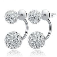Wholesale New Shambala - New 925 Silver White Shambala Diamond Ball Rhodium Plated Stud Earrings