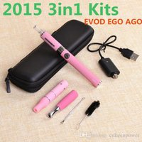 Wholesale Ego G5 Ago - 2016 3 in 1 Dry herb vaporizer pen herbal vape cigarette evod e-cigarette starter kits with Ago G5 Mt3 Ego-d wax atomizers