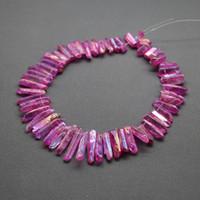 ingrosso perline di cristallo-42pcs Crystal Rock Dye Rose Spike Poin Pendant, Top Forato Donne Risultati dei monili di modo, Accessori di moda collana DIY Fare perline