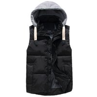 Others padding body warmer - Fall Men s Hooded Winter Waistcoat Stylish Vest Men Outdoors Casual Cotton Padded Hat Detachable Black Khaki Body Warmer