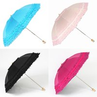Wholesale Two Fold Umbrella - Wholesale-New Fashion Women Princess Two Folding Umbrella Super Lace Anti-uv Sun Protection Nice Gift Umbrella