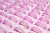 schöne jade ringe großhandel-Neue schöne glatte rosa runde solide Jade / Achat Edelstein Band Ringe 6 MM - Preiswert 20pcs viel