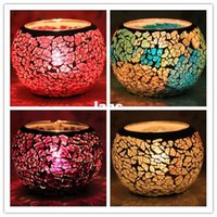 Wholesale Home Decoration Glass mosaic lantern Candle Holders for KTV bar Wedding Candlestick
