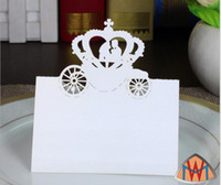 Wholesale red gold wedding card - 200pcs Laser Cut Hollow Crown Car Paper Table Card Number Name Card For Party Wedding Place Card Decorate