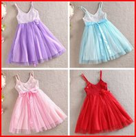 Wholesale Dresses Brace Blue - Free Ship 2016 Hot Sale Girls Summer Bow Sequins dresses girls Cotton red slip dress girls shiny braces skirt girls big flower dresses 3-8T