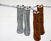 calcetines de lunares niña al por mayor-Moda nueva coreana niños calcetines niñas lindo zorro lunares calcetines niños calcetines pierna A6022