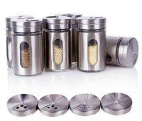 Wholesale Sugar Glass Jars - 4.5x8.5CM Spice Jar Sugar Flour Salt Pepper Shaker Powder Storage Seasoning Glass Bottle 12pcs free shipping
