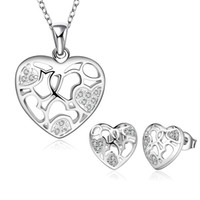 Middle Eastern sparkly heart necklace - Fashion Wedding Jewelry Elegant Sterling Sparkly Cute Natural Hollow Heart Zircon Necklace Earrings Jewelry Set S745