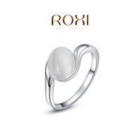 Wholesale Tension Set Ring Opal - ROXI 2014 Free Shipping Gift Platinum Plated Romantic Ellipse Opal Ring Statement Rings Fashion Jewelry For Women Party Wedding