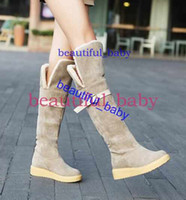 Wholesale Korean Boots Wedges - Korean Fashion Women straight long boots women's knee-high leather boots shoes winter waterproof warm boots high wedges designer knee boots