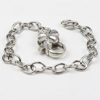 "Wholesale Tibetan Silver Chain Bracelets - 20pcs lot Stainless Steel Chain Tibetan Silver Flower Lobster Clasps Charms Bracelets Chains 8"" 7"" 9"""