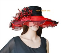 Wholesale Organza Wedding Hats - Red black ORGANZA HAT BRIDAL HAT with organza leaf .IDEAL FOR KENTYCKY DERBY OR A WEDDING