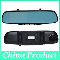 câmeras de exibição completa venda por atacado-4.3 polegadas 1080 P Dual Lens Carro DVR Duas Câmeras Espelho Azul Completa HD H.264 120 graus Vista de Ângulo Separado câmera Traseira Gsensor 010226
