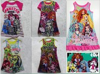 Wholesale Tutu Fedex - DHL FEDEX Free 5 Styles Girls Summer New Monster high Sleeveless vest skirt Dresses princess dress Baby Clothes
