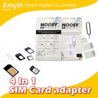 Wholesale Micro Sim Adapter Set - Nano SIM Card to Micro SIM Card Standard Adapter Converter Eject Pin Set 4 in 1 For iPhone 4 4S Galaxy S4 S5 black and white DHL