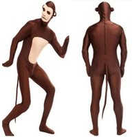 Wholesale Monkey Adult Mascot - 2016 Hot Monkey Zentai Adult Stage Outfits Catsuit BodySuit Tights Cartoon Anime Costumes Mascot Costumes Performers