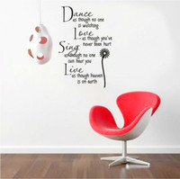 Wholesale Love Wall Watches - dance as though no one is watching love quote wall decals decorative adesivo de parede removable vinyl wall stickers