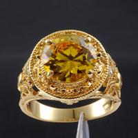 ingrosso pietre preziose d'epoca-Misura 9,10,11 Anello rotondo maschile giallo con topazio rotondo in oro giallo 18 carati per uomo ESCLUSIVO