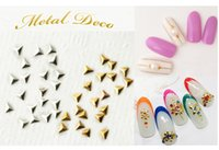 Wholesale Studs For Nail Art - High Quality 2mm & 3mm Gold, Silver Shiny Mini Metal Triangle Design Stud For UV Gel Nail Art Decoration 500 pcs   pack