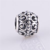 LW234 Brand Sales 925 Sterling Silver Thread Charms Vintage Totem Circle Symbol Dot Beads Fit for Pandora Bracelets Jóias Mulheres