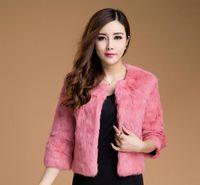 Wholesale Double Breasted Rabbit Coat - 2016 New Fashion Full Pelt Rabbit Fur Three Quarter Sleeve Women Coat Outwear Short Style Round Collar Delicate Coat for Ladies