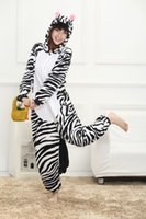 Cartoon Animal Zebra Adulto Onesies Onesie Pigiama Kigurumi Hoodies Hoodies Sleepwear Per Adulti Benvenuto Ordine all'ingrosso