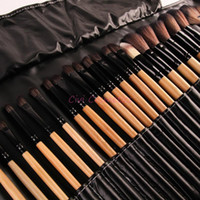 Wholesale Cosmetic Brush Hair - Stock Clearance 32Pcs Print Logo Makeup Brushes Professional Cosmetic Make Up Brush Set The Best Quality