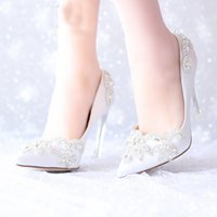 Wholesale Shoe Pageant - 2016 Pink Satin Wedding Bridal Shoes Silver Crystal Pointed Toe Platform Shoes Pageant Party Pumps Mother of The Bride Shoes