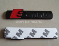 badges en ligne noir achat en gros de-10 pcs métal shinny SLINE s ligne autocollant emblème brillant noir argent Chrome badge en gros M3705
