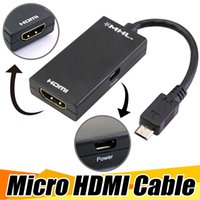 Wholesale Lg Usb Video Adapter - 1080P HDMI Cable Micro USB MHL To HDMI Video Cable Adapter For Samsung HTC LG Wholesale