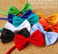 Wholesale Red Bow Tie For Women - Candy colors bow tie clip on bow tie for children's bow with neck strap 50pcs lot Free Shipping