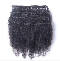 ingrosso capelli remy africani-Clip mongola afro africana riccia in estensioni dei capelli umani 7 pezzi / set 120 grammi / confezione clip afroamericana nelle estensioni dei capelli umani