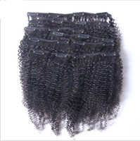 Wholesale african human hair extensions resale online - Mongolian Afro Kinky Curly Clip In Human Hair Extensions Pieces Set Gram Pack African American Clip In Human Hair Extensions