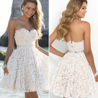 Wholesale strapless cocktail dresses for sale - 2018 New Sexy Strapless Lace A Line Homecoming Party Dresses Blackless Short Party Prom Cocktail Dresses
