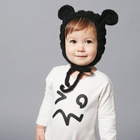 Wholesale Knit Baby Fedora Hats - Boutique Children's Accessories Baby Sweater Caps Head Ear Protect Ears Sweaters Knitting Pure Color Warmer White Black Cap Hats A4764
