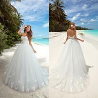 Wholesale Empire Waist Tulle Strapless Dress - 2017 Modest Ball Gown Wedding Dresses Romantic Empire Waist Lace Appliqued Vestidos De Noiva Backless Beach Bridal Gowns