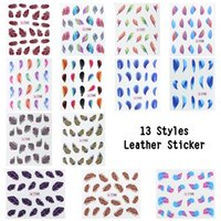 Wholesale Feather Nail Decals - Wholesale-13pcs lot Nail art decoration sticker Feather Water Transfers Stickers Decals for nails